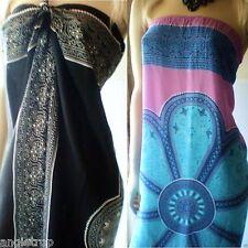 Bali Mumu Sarong Tube Dress Boho Hippy Mandala Batik Beach Size S M L XL 8-22