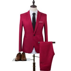 Mens 2PCS Slim Fit Business Soild Color Casual One Button Blazer Wedding Suit