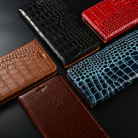Genuine Crocodile Leather For iPhone XS Max XR 8 7 Plus Magnetic Flip Stand Case