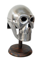 Skeleton skull medieval armour helmet with wooden stand halloween costume gift