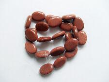 2pz perline  in pietra del sole ovale 18x13mm colore marrone