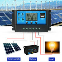 10A /20A /30A LCD MPPT Solar Panel Battery Regulator Charge Controller Dual USB