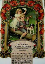 "Large 1912 Advertising Calendar- ""Emil Voegele Groceries"" w/ Kids & Cute Dog*"