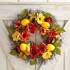 "NWT PIER 1  $109 LARGE FAUX LEMON FLORAL  DOOR WREATH  18"" ACROSS"