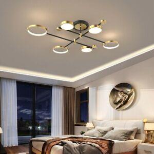 Nordic Style Semi Flush Mount Ceiling Light Gold Ring LED 6-Light
