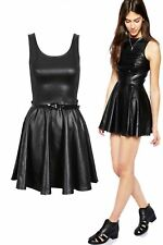 Plus Size Womens Ladie Sleeveless Belted PVC Shiny Wet LOOK Flared Skater Dress XL (16-18) Black