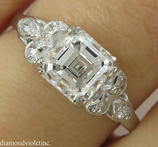 GIA 1.46CT ANTIQUE VINTAGE DECO ASSCHER DIAMOND ENGAGEMENT WEDDING RING PLAT