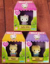 Hello Kitty set of 3 Vellutata Flocked Figures - Jody, Tippy and Hello Kitty
