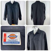 Dickies Mens 2XL XXL Solid Black Long Sleeve Twill Button Down Work Shirt    OD4