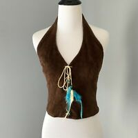 Womens Small S Halter Top Wilsons Leather Lace Up Suede Western Boho Fall