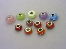 Lot of 11 Murano Glass Charm Beads 6 are marked 925 Silver