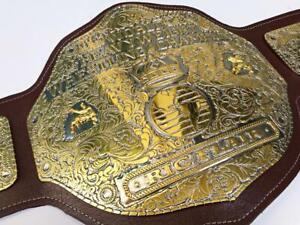 WWF big gold world heavyweight championship belt 4mm zinc plated/premium leather