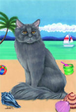 Beach Garden Flag - Grey Maine Coon Cat 640031