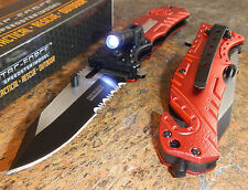 TAC FORCE Fire Fighter Red Spring Assisted Serrated Pocket Knife with LED NEW!!