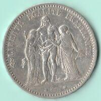 FRANCE Pièce de 5 FRANCS 1875 A PARIS HERCULE - argent 900% - 25 g.