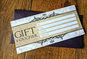6 x Blank Money Gift Vouchers Certificates, + Luxury Thick Aubergine  Envelopes