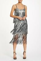 NWT Dress the Population 'Roxy' Sequin Fringe Dress in Silver - Size XS #D2308