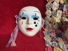 Vintage Wall Hanging Asian Mask Venetian Carnival Style Ceramic & Ribbons Face