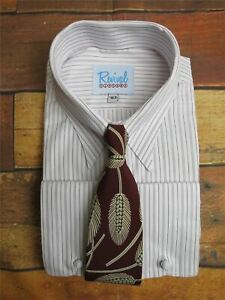 Revival Authentic 1940s Style London Stripe Spearpoint Tab Collar Shirt