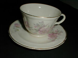 Edwin Knowles China #W1838E1 PEONY Pink Flower Cup Saucer