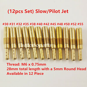 12pcs Slow/Pilot Jet for PWK OKO CVK30,31,32,35,38,40,42,45,48,50……55 USA