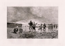 """Amazing 1800s AUGUST HAGBORG Etching """"Low Tide in the Channel"""" SIGNED Framed COA"""