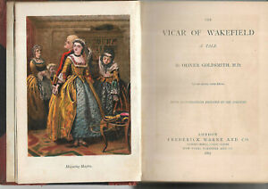 Antique Book The Vicar of Wakefield by Oliver Goldsmith illustrated 1867 leather