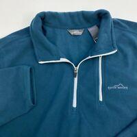 Eddie Bauer Quarter Zip Fleece Jacket Mens XXL Blue Long Sleeve Casual
