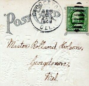 1909 Georgetown Delaware Postmark Emma Holson to Roland Holson Postcard LP