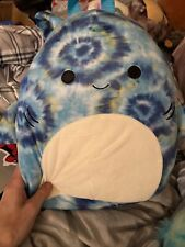 """NWT 12"""" Squishmallow Backpack Luther Tie Dye Shark Kellytoy"""