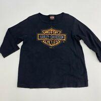 Harley Davidson T Shirt Women's Size XL Quarter Sleeve Black Scoop Neck Cotton