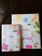 2pc Pottery barn kids Naomi FloralTwin Duvet Standard Shams Bird Flower