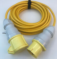 32 amp 4mm Yellow Site Extension Cable 110v 16a Transformer Lead Wire 1m - 30m