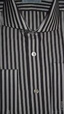 "COLES 15""/ 32"" Black Bengal Stripe CUTAWAY Collar Shirt Reg Fit Double Cuff"