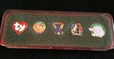 (3M893) Membership Set In Special Holder Five Ty Beanie Babies Lapel Pins