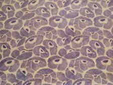 "Vintage Cotton Voile Fabric Crisp 3yd Purple Poppies Ecru 45"" wide ZFe"
