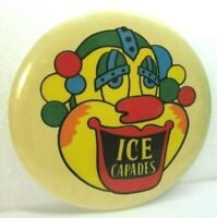 1970s Vintage Pinback Pin Button Psychedelic Bubbles Clown Ice Capades 3.5 Inch