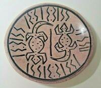 6 Inch Kenyan Soapstone Plate - Handpainted Lizard Design Made in Kenya