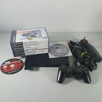 Sony Playstation PS2 Slim Console Bundle 8 Games 1 Official Controller | Tested