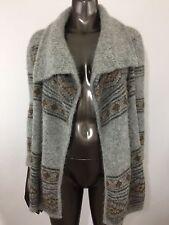 Orvis Women's Small Alpaca Nordic Waterfall Cardigan $248 Fold Down Collar Gray