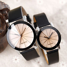 Men Women Fashion Faux Leather Watches Quartz Sports Dress Wrist Watch Fancy