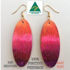 Earrings boho bling hoops painted orange gold tribal long geo WEAR BOTH SIDES