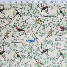 """C1146-03  WILMINGTON PRINTS """"Nature's Song"""" Birds on Cream by the Yard"""