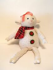 Plush Sitting Lamb Plaid Red Scarf Red Bow Holiday Christmas Decoration
