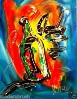 Modern Canvas ORIGINAL PAINTING  - SIGNED WITH COA - CANADIAN GALLERY WINE Y345Y