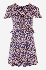 Topshop Blue Floral Daisy Frill Flippy Tea Skater Dress - Size 14
