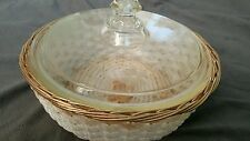 Vintage Pyrex Etched Flower Design Casserole with Wire Basket Server