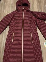 NEW Michael Kors brandy Red Puffer Coat Jacket Packable Down SZ Large L $240