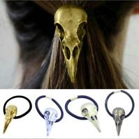 Punk Silver Bird Skull Hair Tie Plague Doctor Crow Raven Cool Elastic Band