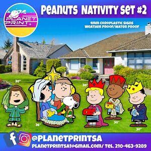 Big yard Signs- 2.5ft-3ft Nativity peanuts Holiday lawn signs 5pcs